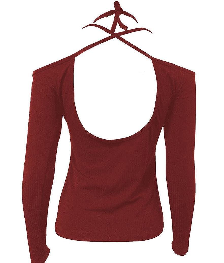 Camiseta tops de manga larga para Mujer, Yannerr primavera hombros descubiertos Correa sin tirantes Parte posterior cofre apretado casual jersey sudadera ...