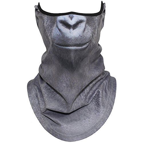 AXBXCX Animal 3D Prints Neck Gaiter Warmer Half Face Mask Scarf Windproof Dust UV Sun Protection for Skiing Snowboarding Snowmobile Halloween Cosplay Gorilla