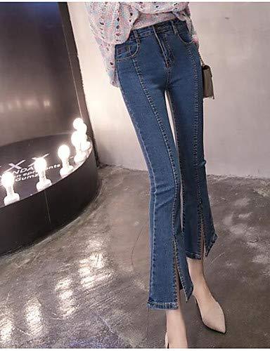 Pantalon Haute Blue Taille Jeans Taille Unie Plus Femme YFLTZ Couleur Basique zZdRPzx