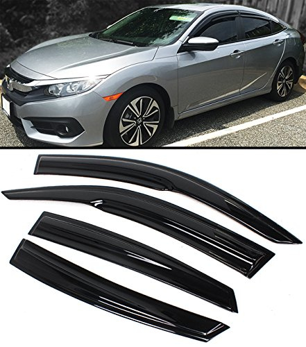 Cuztom Tuning JDM 3D Style Wavy Smoked Window Visor Rain Guard Deflector Fits for 2016-2019 10TH Honda Civic 4 Door Sedan – Go4CarZ Store