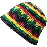 Inspirit Arts Small Medium Rasta HAT Hand Made Crochet Cotton Reggaebowler Floppy Cloche Bell Brim Multi-color