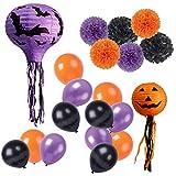 Happy Halloween Party Decorations Kit Paper Bats Lanterns Pumpkin Lanterns Paper Tissue Pom Poms,Latex Balloons Pack of 20 pcs