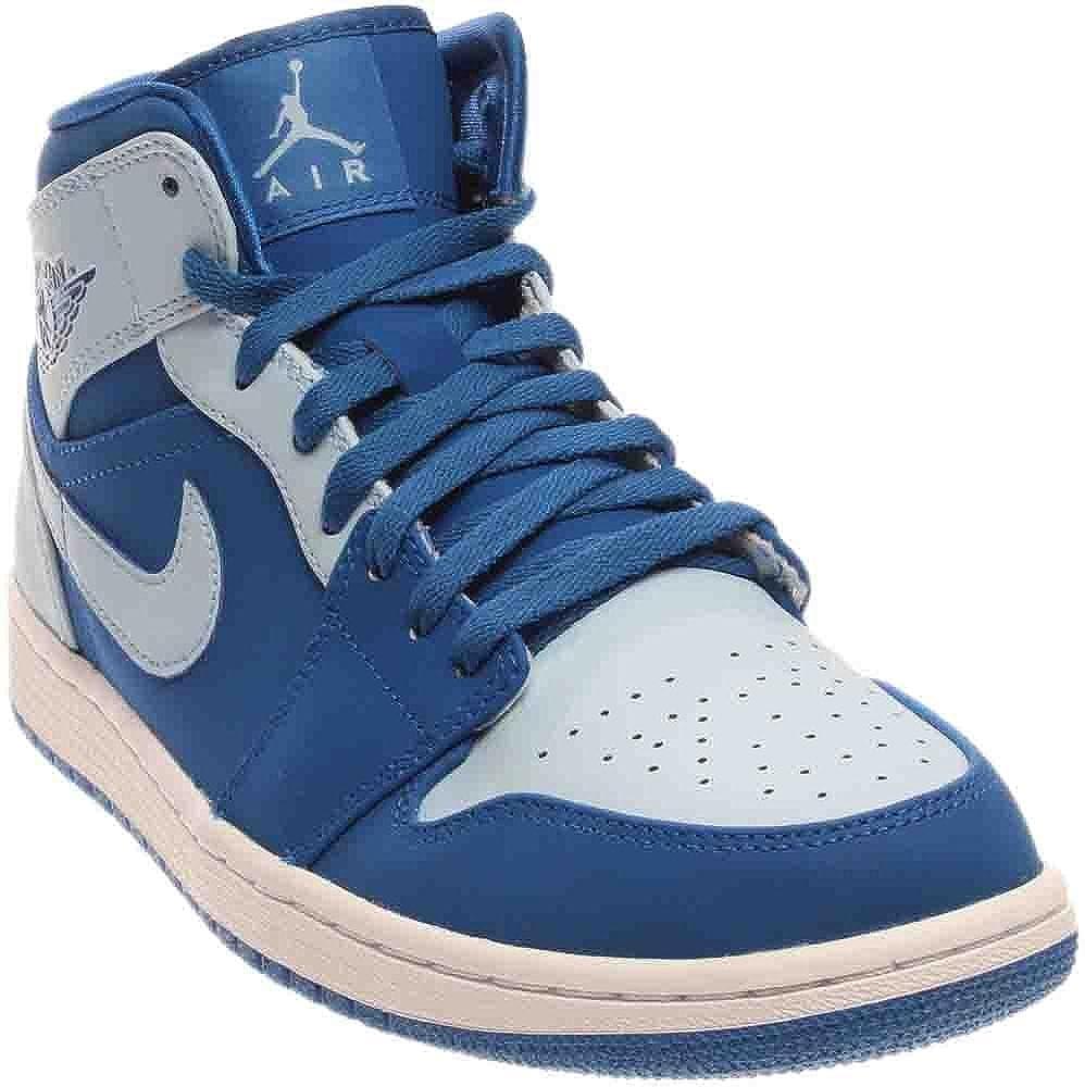 on sale e0296 5a2a2 Nike Air Jordan Men's 1 MID 55472-400 Blue and White Mesh ...