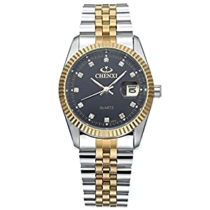 Men's Unique Stainless Steel Band Wrist Watch Classic Round Gold Silver Two Tone Diamond Paved Analog Quartz Business Casual Dress Sport Watches Waterproof
