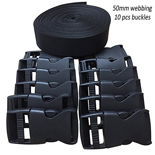 RETON 2 Inch Wide 10 Yards Black Nylon Webbing Strap + 10 PCS Adjustable Buckles Plastic Side Release Buckles ()
