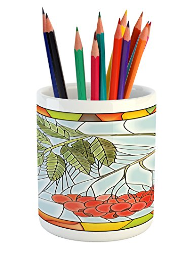 Ambesonne Christmas Pencil Pen Holder, Rowan Branch Motif on a Stained Glass Frame Noel Season Berries Winter Theme, Printed Ceramic Pencil Pen Holder for Desk Office Accessory, - Glass Motif Stained