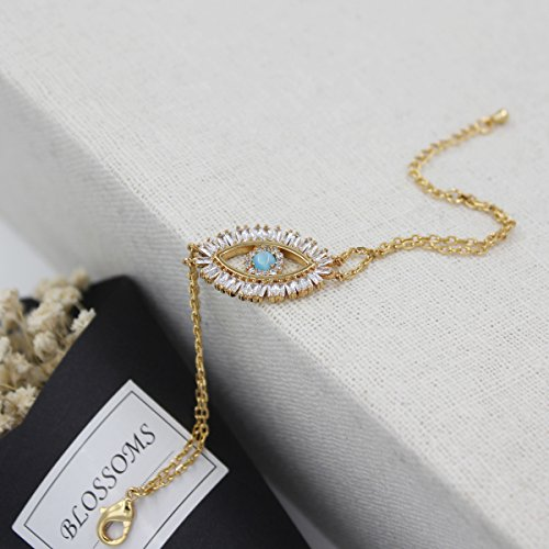 Turkish Evil Eye Bracelet Cats Eye Gold Plated Faith Protection Lucky Jewelry for Women and Girls Party Special Days