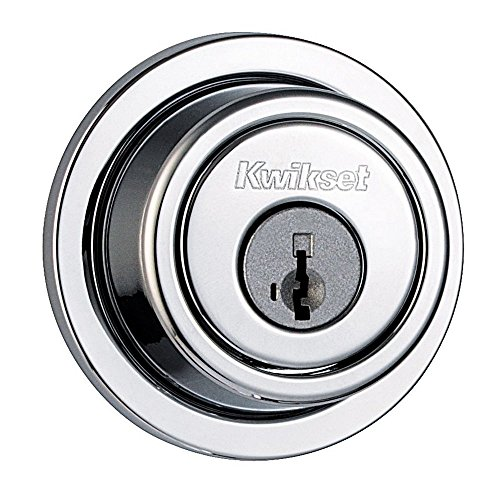 Kwikset 993 Round Contemporary Single Cylinder Deadbolt featuring SmartKey in Polished Chrome