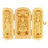Fityle Boxwood Buddha Statue Feng Shui Luck & Wealth Amulet Home Car Inner Ornament