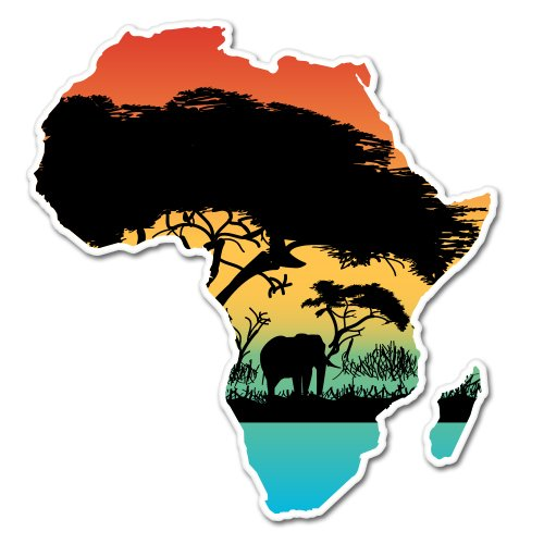 (Africa Colorful Continent Shape Wild Nature Vinyl Sticker - Car Phone Helmet - SELECT SIZE)
