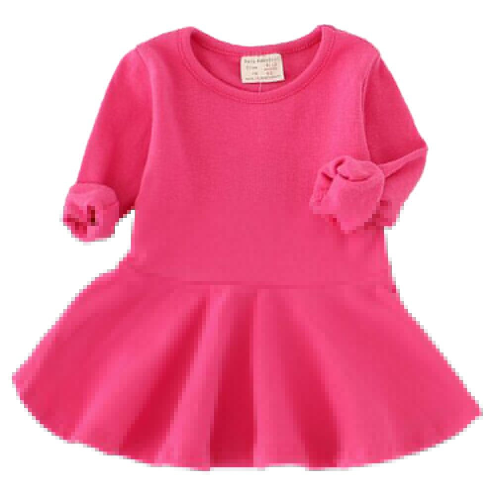 EGELEXY Baby Girl's Long Sleeve Pleated Infant Toddler Dresses Dress Tops Blouse