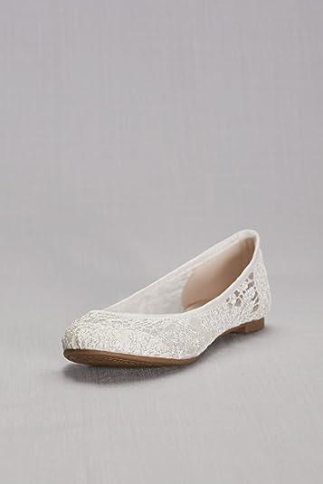Amazon.com   David\'s Bridal Ballet Flats with Crochet Detail Style ...