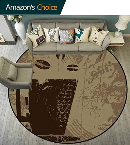Coffee Round Rug Under Table,Grunge Weathered Mug Silhouette with Aromatic Java Beans for Breakfast Waterproof and Easy Clean,Dark Brown Cocoa - Table Metro Round Coffee