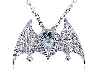 Alilang Womens Silver Tone Aurora Borealis Gemstone Halloween Vampire Bat Pendant Necklace