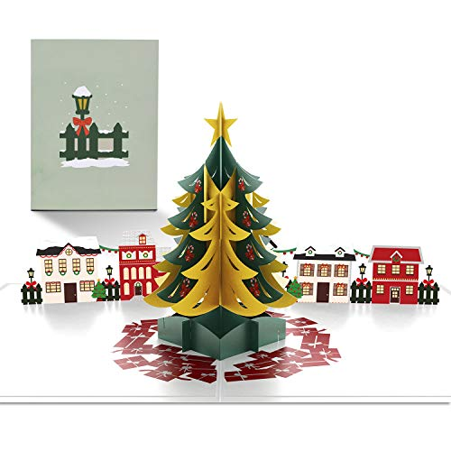 Paperkiddo 3D Pop Up Cards Christmas Tree Merry Christmas Thank You Greeting Cards for family Unique Xmas New Year Gifts 20x15x0.3cm / 7.9x5.9x0.1