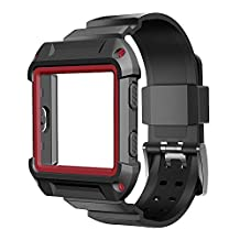 Fitbit Blaze band, Lamshaw Resilient Protective Case with Strap Bands for Fitbit Blaze Smart Fitness Watch (Case with band red)