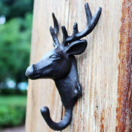 Ducxq Ancient Technology Cast Iron Hook Clothes and Caps Hook Simulated Antler Deer Head Single Hook Wall Decoration Hook