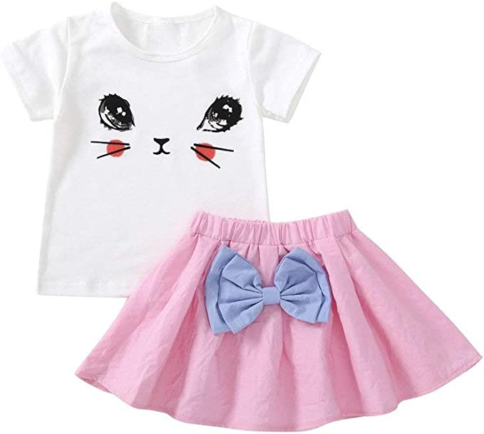 LENGIMA Falda de Verano para niñas pequeñas, Camiseta de Gato de ...