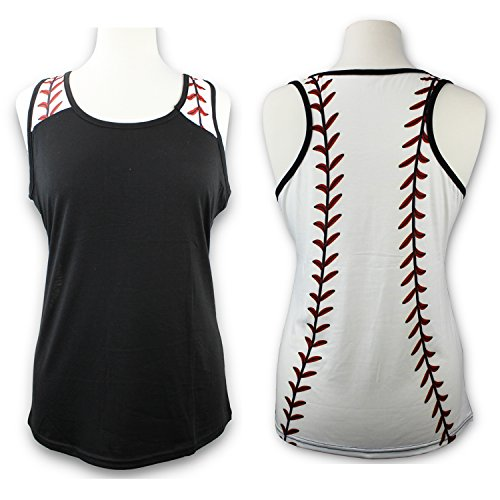 (Baseball Tank Top for Mom Fans Sports Games Gifts Teen Women (Black, Small))