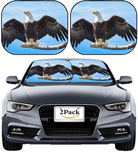 MSD Car Sun Shade Windshield Sunshade Universal Fit 2 Pack, Block Sun Glare, UV and Heat, Protect Car Interior, Image ID: Bald Eagle Landing on a Large Tree Branch with Wings Extended Image 19531267 (Eagle Landing Metal)
