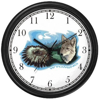 - Wyoming Icons - Indian Feather Dress, Gray Wolf or Fox, Mountains - American Theme Wall Clock by WatchBuddy Timepieces (Hunter Green Frame)