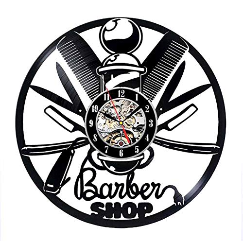 - WANGXN Vinyl Record Clock Hair Dryer Scissors Comb Art Clock Gift Idea for Barber Shop