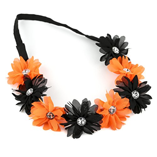 Halloween Accessories - Lux Accessories Floral Flower Crystal Halloween Holloween Stretch Headband