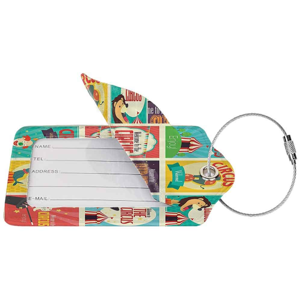 Decorative luggage tag Circus Decor Collection Of Old Circus Icons Carnival Magicians Old Fashioned Nostalgic Festive Artsy Print Suitable for travel Multi W2.7 x L4.6