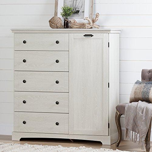 South Shore 10246 Avilla 5-Drawer Dresser with Cabinet Door, Winter Oak