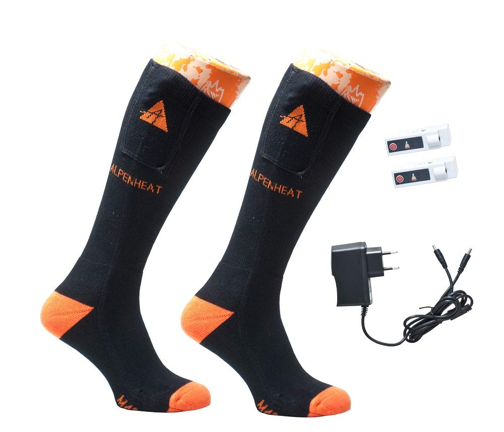 noir Orange 46-48 Alpenheat Fire Heated Socks Cotton Mixte