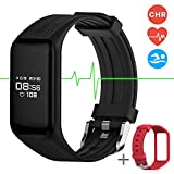 Fitness Tracker Smart Band Continuous Heart Rate Monitor, MGCOOL B3 Activity Tracker Swim Waterproof Bracelet with Sleep Monitor Step Counter Stopwatch, Smart Watch Sport, Christmas Gift, 2 Straps