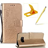 Strap Case for Samsung Galaxy S8,Wallet Leather Cover for Samsung Galaxy S8,Herzzer Classic Elegant [Gold Butterfly Pattern] PU Leather Fold Stand Card Holders Smart Phone Case for Samsung Galaxy S8 + 1 x Free Yellow Cellphone Kickstand + 1 x Free Yellow Stylus Pen