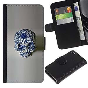 RenCase / Flip Funda Carcasa PU de Cuero para Apple Iphone 4 / 4S - Diseño Porcelana Floral Blanco Cráneo;