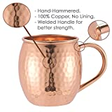 Moscow-Mix Solid Copper Handle Moscow Mule Mugs (Set of 4) with Shot Glass, 16 oz