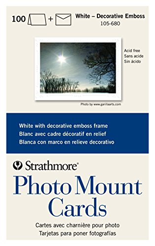 Strathmore 105-680 Photo Mount Cards, White Decorative Embossed Border, 100 Cards & Envelopes (Decorative Cards)