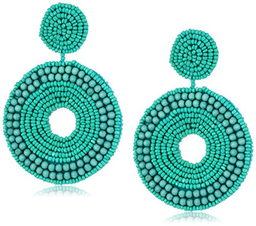 Kenneth Jay Lane Turquoise Seedbead Circle Drop Earrings