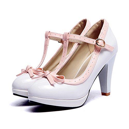 shoes Blanc En Avec Couleurs Nœud Cuir Assorties Métal Balamasa Pumps Mesdames Brevet q47Wff