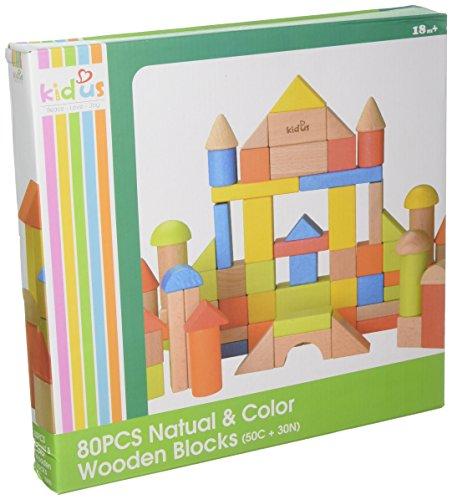 Wooden Building Blocks Tabletop - KidUS Colored Wooden Blocks Table Top Games (80 Piece)