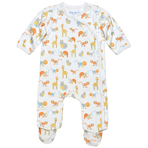 Under The Nile Cotton Romper (Under the Nile Baby Boy Side-Snap Footie Size 6-9M Safari Animal Print Organic)