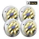 Outdoor Solar Ground Light, 4 Pack Pathway in-Ground Solar Light with 8 LED