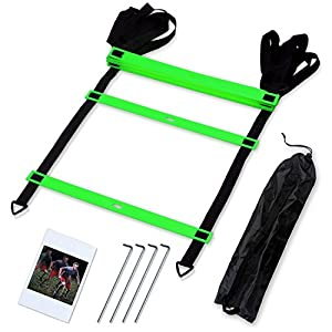 CampFENSE Speed Agility Ladder (Portable) Running Training Hurdles Athletic Football Soccer Basketball Footwork Fitness Exercise with Carry Bag & Training Guide (Green-4m-8rungs)