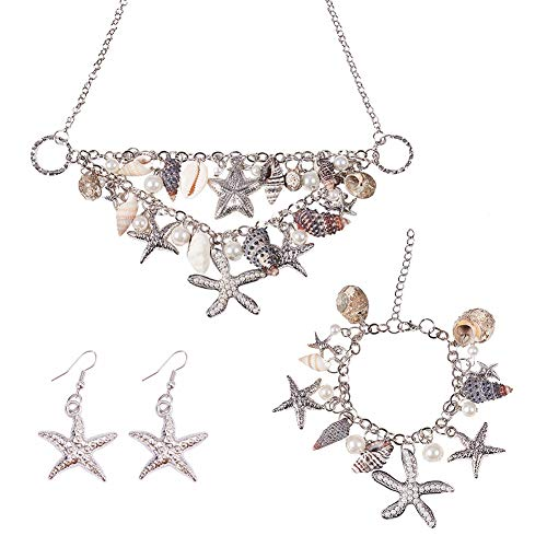 Faux Shell Earrings - PH PandaHall 3 in 1 Fashion Sea Shell Starfish Faux Pearl Collar Bib Statement Chunky Necklace Bracelet and Earrings Set in Gift Box (Platinum)