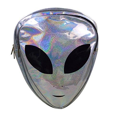 Olivia Silver Hologram Backpack Alien Logo Pattern Transparent Backpack Casual Bag for Costumes Raves Casual Wear Silver ()