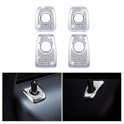 1797 Compatible Door Lock Pins Caps for BMW Accessories Parts Covers Decals Stickers Bling Interior Inside Decorations X5 X6 Series F15 F16 G05 xDrive AWD Women Men Crystal Silver Pack of 4