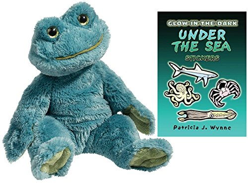 Douglas Gaston Frog Pudgie Plush Animal with Under the Sea Sticker Book, 16
