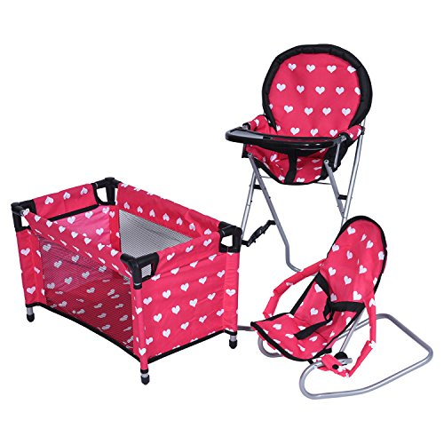 (New York Doll Collection Dolls Mega Play set with Dolls High Chair, 3-1 Doll Bouncer and Pack N Play Red-color for 18-inch)