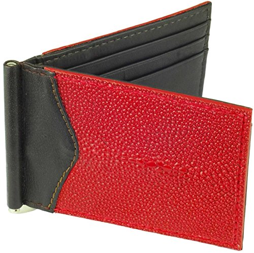 3 Money Clip Leather Stingray Wallet Red Brown ID CC Holder Slots CYnxCrd
