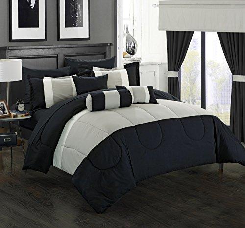 King Comforter Ensemble (Chic Home 20 Piece Mackenzie Complete Pieced Comforter Set, King, Black)