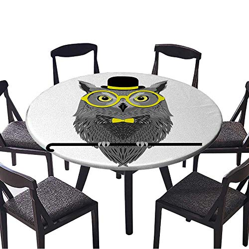 Premium Round Tablecloth Vector Bird,owl in Yellow Glasses,Bowler hat,Bow tie Everyday Use 43.5