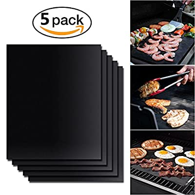Grill Mat BBQ Grill & Baking Mats 100% Non-stick - Reusable, Easy to Clean - Set of 5 by YOHOMA